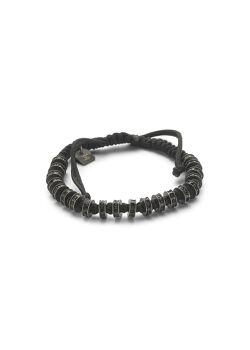 Armband in edelstaal, zwart koord, rondjes zwarte steentjes