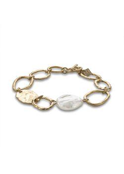 Goudkleurige high fashion armband, ovalen, parel