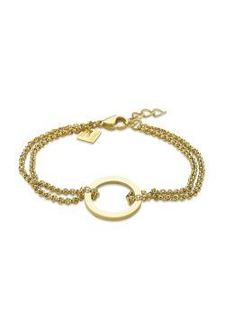 Armband in goudkleurig edelstaal, cirkel tussen dubbele ketting