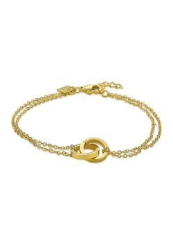Armband in goudkleurig edelstaal, 2 cirkels, dubbele ketting