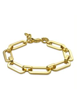 Armband in goudkleurig edelstaal met ovale schakels