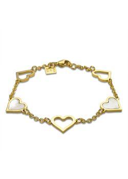 Armband in goudkleurig edelstaal, 5 harten