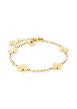 Armband in goudkleurig edelstaal, 5 klavers