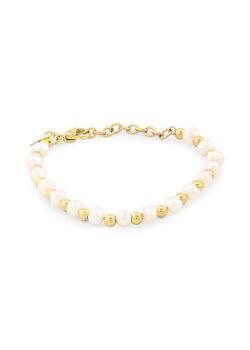 Armband in goudkleurig edelstaal, bolletjes en parels