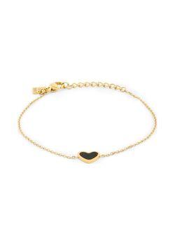 Armband in goudkleurig edelstaal, zwart hartje
