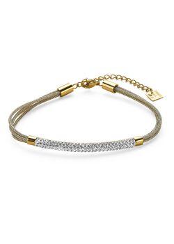 Armband in goudkleurig edelstaal, 4 rijen, buis met kristallen