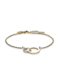 Armband in goudkleurig edelstaal, 2 cirkels, kristallen