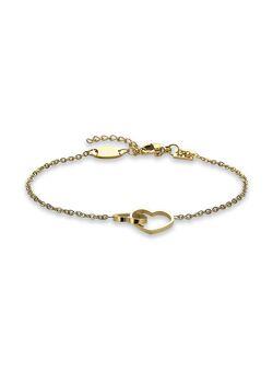 Armband in goudkleurig edelstaal, 2 open hartjes