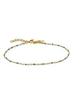 Armband in goudkleurig edelstaal, kleine blauwe email bolletjes