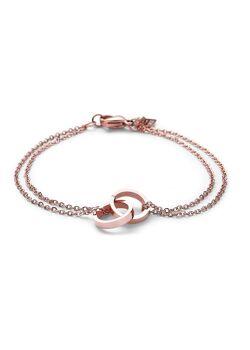 armband in rosé edelstaal, dubbele ketting, dubbele cirkel