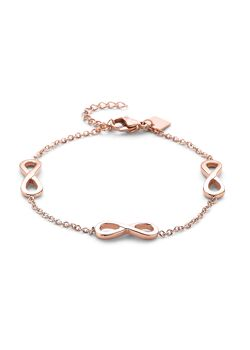 Armband in rosé edelstaal, 3 infinities