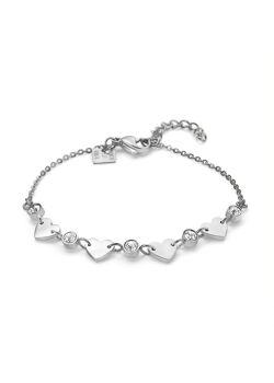 Armband in edelstaal, 4 hartjes, 5 kristallen