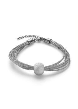 Armband in edelstaal, 8 rijen, gehamerde bol