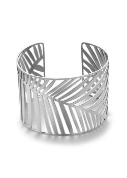 Armband in edelstaal, brede bangle, blad motief