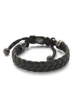 Armband in edelstaal, zwart gevlochten leer