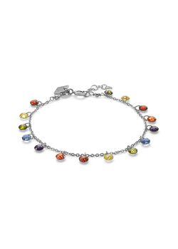 Silver bracelet, multi-coloured stones