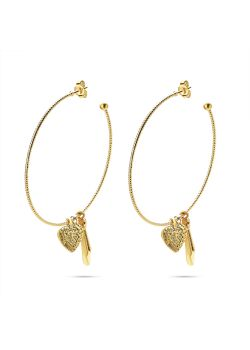 Goudkleurige high fashion Oorbellen, oorring met hartje en witte druppel