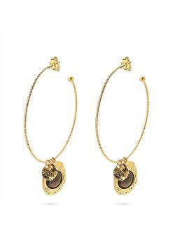 Goudkleurig high fashion Oorbellen, ovaal met vlinder en paarse steen