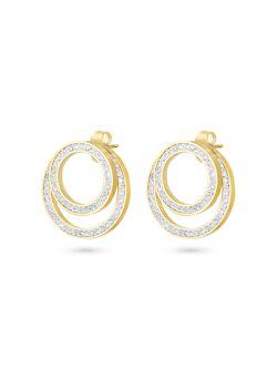 Oorbellen in goudkleurig edelstaal, 2 cirkels, witte kristallen