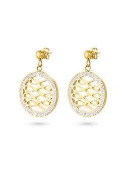 Oorbellen in goudkleurig edelstaal, open cirkel, zigzag, witte kristallen