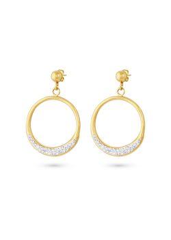 Oorbellen in goudkleurig edelstaal, open cirkel, kristallen