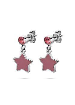 Collection K3, boucles d'oreilles, étoile et pierre rose
