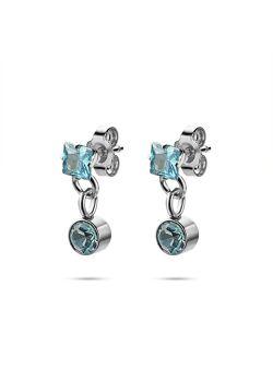 Collection K3, boucles d'oreilles, pierre ronde et carrée, bleue
