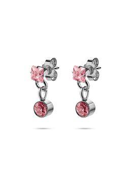 Collection K3, boucles d'oreilles, pierre ronde et carrée, rose