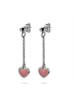Collection K3, boucles d'oreilles, coeur rose sur chaîne