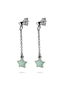 Collection K3, boucles d'oreilles, étoile bleue sur chaîne