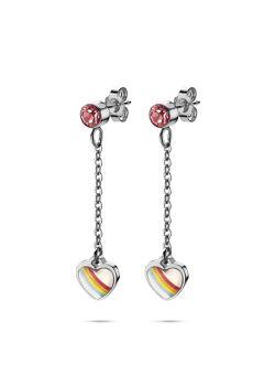 Collection K3, boucles d'oreilles, coeur en arc-en-ciel sur chaîne, pierre rose