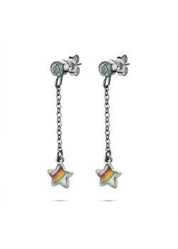 Collection K3, boucles d'oreilles, étoile en arc-en-ciel sur chaîne, pierre bleue
