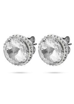 Oorbellen in zilver, ronde kristal 12 mm, kleine kristallen
