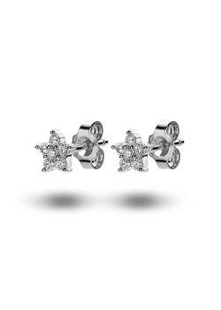 oorbellen in zilver, bloemetje met 6 zirkonia