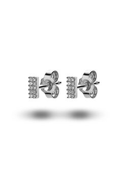 oorbellen in zilver, rechthoekje, zirkonia
