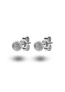oorbellen in zilver, gehamerde bol van 5 mm