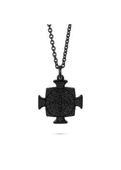 Halsketting in zwart edelstaal, tribal kruis