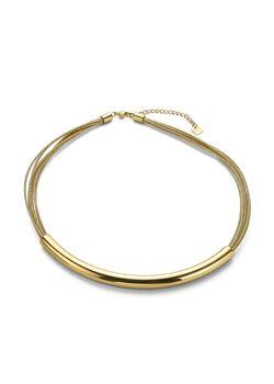 Halsketting in goudkleurig edelstaal, 8 rijen, buis