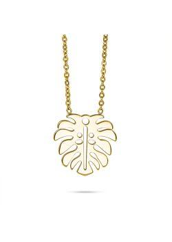 Halsketting in goudkleurig edelstaal, blad