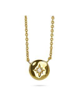 Halsketting in 18kt plaqué goud, rondje met zirconia sterretje
