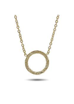 Halsketting in 18kt verguld zilver, gehamerde cirkel