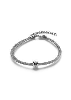 Armband in edelstaal, 3 rijen, bol met kristallen