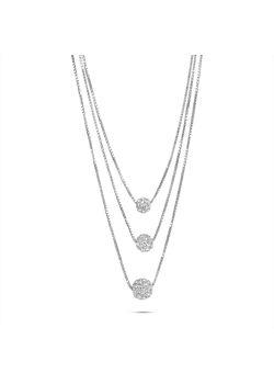 Halsketting in zilver, 3 venetianen, 3 bollen in verschillende groottes en kristallen