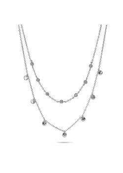 Halsketting in zilver, dubbele ketting, zirconia en rondjes