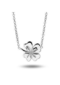 Silver necklace, lucky clover