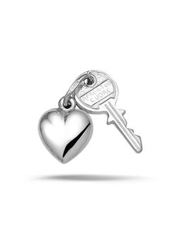 Hanger in zilver, hart en sleutel