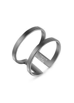 Ring in edelstaal, zwart, dubbele open ring