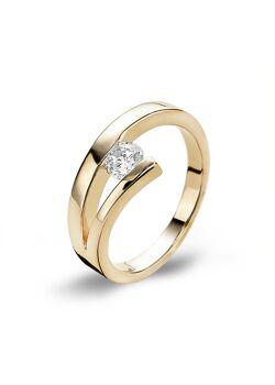 Ring in 18kt verguld zilver, dubbele ring, zirkonia
