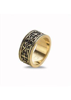 Ring in goudkleurig edelstaal, tekening, kruis