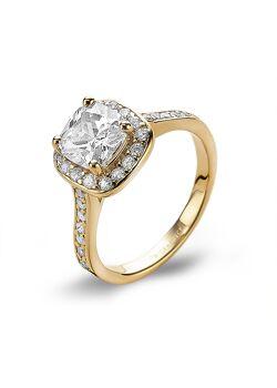 Ring in 18kt verguld zilver, grote vierkante zirkonia, kleine zirkonias